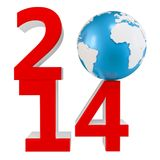 3d New Year 2014 concept with  Earth globe Stock Photos