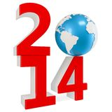 3d New Year 2014 concept with  Earth globe. On white background Vector Illustration