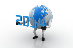 3d New Year 2014 concept. With Earth globe on white background Stock Photography