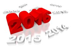 3D New Year 2016 concept... Stock Image