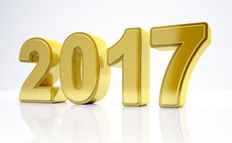3d - new year 2017 concept - gold. 3d render - number 2017 in gold over white background - represents the new year Stock Illustration