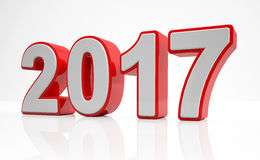 3d - new year 2017 concept - red. 3d render - number 2017 in red over white background - represents the new year Stock Illustration