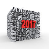 3d 2017 new year cube Royalty Free Stock Photos
