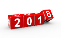 3d new year 2018 cubes changing Stock Images