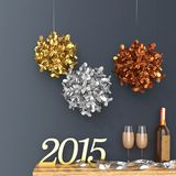 3d new Year 2015 with decorations and champagne glasses. Against the wall Royalty Free Stock Photo
