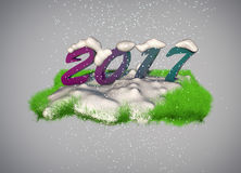 2017 3D new year greeting card Stock Image