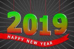 3d 2019 new year greetings. 3d colorful 2019 text with happy new year wishes, a stylish greeting card Stock Image