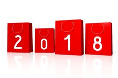 3D 2018 New Year illustration. Isolated on white background Royalty Free Stock Image