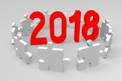 3D 2018 New Year illustration. Isolated on white background Royalty Free Stock Photo