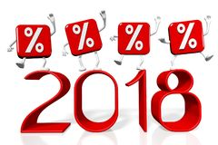 3D 2018 New Year illustration. Isolated on white background Stock Photos