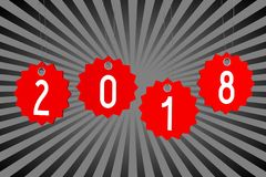 3D 2018 New Year illustration. Gray and black background Royalty Free Stock Photos