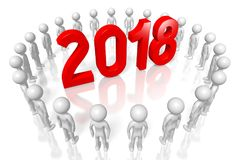3D 2018 New Year illustration. Isolated on white background Royalty Free Stock Photos