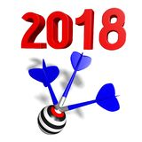 3D 2018 New Year illustration. Isolated on white background - dartboard Royalty Free Stock Image