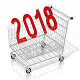 3D 2018 New Year illustration. Isolated on white background - shopping cart Stock Photo