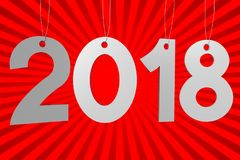 3D 2018 New Year illustration. Red background explosion - great for topics like advertisement etc Stock Photo
