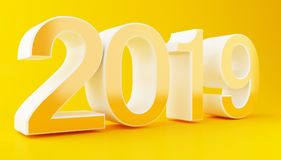 3d New Year 2019. 3d illustration. New Year 2019 on yellow background Royalty Free Stock Images
