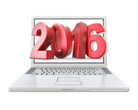 3D new year 2016 in laptop royalty free stock images