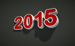 3D New year 2015 logo on black background. 3D New year 2015 logo - red and white shape on black background - Eve concept stock illustration