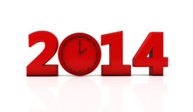 2014 in 3d. New year 2014 in red with a clock stock illustration