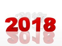 3d new year 2018 in red figures with preceding years Royalty Free Stock Images