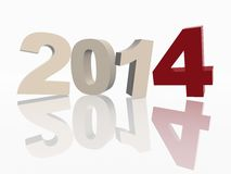 3d new year 2014 in red and grey figures Stock Image