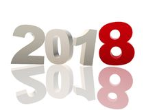 3d new year 2018 in red and grey figures vector illustration