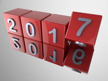 3D new year 2017 with reflections Royalty Free Stock Image