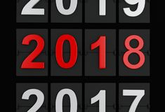 3d New Year 2018. 3d renderer illustration. 2018 Happy New Year Scoreboard Stock Illustration