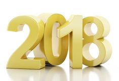 3d New Year 2018. 3d renderer illustration. New Year 2018 isolated on white background Stock Photos