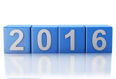3d New Year 2016. 3d renderer image. Blue cubes with 2016. New Year concept. Isolated on white background Stock Photos