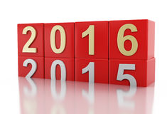 3d New Year 2016. 3d renderer image. Red cubes with 2016. New Year concept. Isolated on white background Stock Images