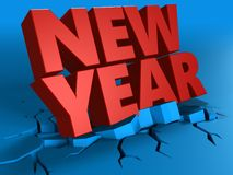 3d of new year sign. 3d illustration of new year sign over blue background stock illustration