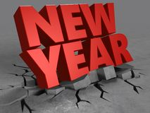 3d of new year sign. 3d illustration of new year sign over concrete background stock illustration
