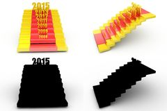 3d  new year stairs concept collections with alpha and shadow channel Stock Photography