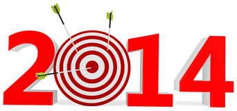 3d New year 2014 with target and arrows Stock Images