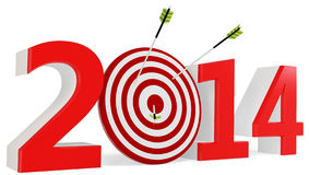 3d New year 2014 with target and arrows Royalty Free Stock Images