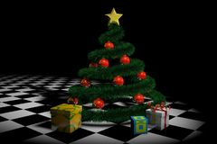 3D New Year tree with red balls and gifts on a black background. Close up stock illustration