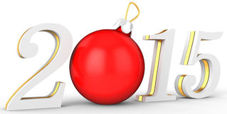 3d 2015 new year. On white background Royalty Free Stock Image