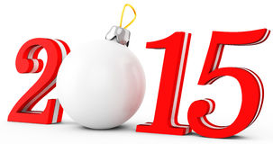 3d 2015 new year. On white background Royalty Free Stock Photos