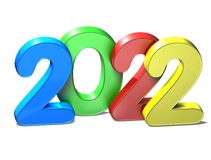 3D New Year 2022 on white background.  Royalty Free Stock Photos