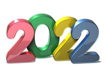 3D New Year 2022 on white background.  Stock Images