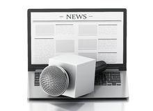 3d News microphone and laptop with news article. 3d renderer image. News microphone and laptop with news article.  white background Stock Photography