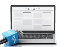 3d News microphone and laptop with news article. 3d renderer image. News microphone and laptop with news article.  white background Royalty Free Stock Photo