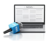 3d News microphone and laptop with news article. 3d renderer image. News microphone and laptop with news article.  white background Royalty Free Stock Image
