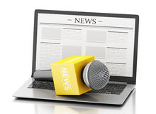 3d News microphone and laptop with news article. 3d renderer image. News microphone and laptop with news article.  white background Stock Photo