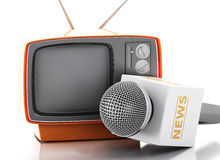 3d News microphone with retro tv. 3d renderer image. News microphone with retro tv. News concept.  white background Royalty Free Stock Images