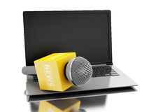 3d News microphone tv with laptop. 3d renderer image. News microphone tv with laptop. News concept.  white background Stock Photography