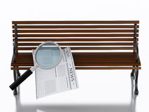 3d Newspapers with magnifying glass. Job search concept. 3d illustration. Newspapers with magnifying glass on a wooden bench. Job search concept. Isolated white Stock Photo