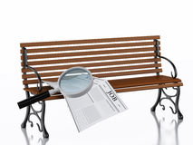 3d Newspapers with magnifying glass. Job search concept. 3d illustration. Newspapers with magnifying glass on a wooden bench. Job search concept. Isolated white Stock Images