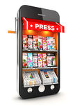 3d newsstand smartphone. White background, 3d image Stock Images